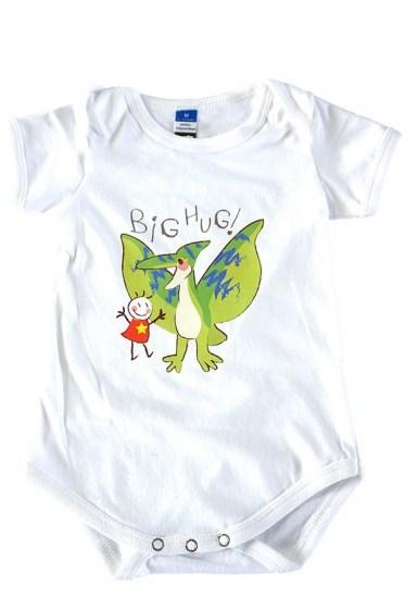 Big Hug With Dinosaur Baby Rompers White