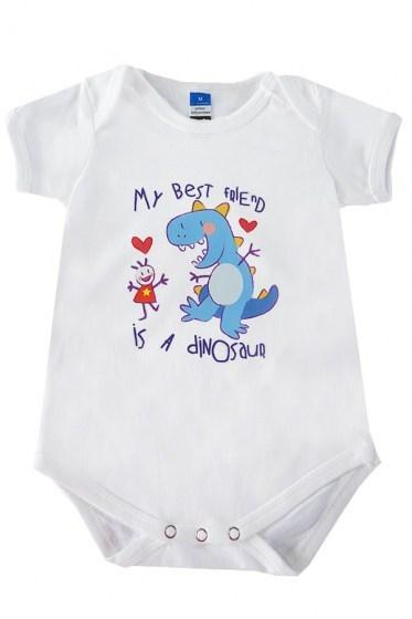 My Best  Friend Is A Dinosaur  Baby Rompers White